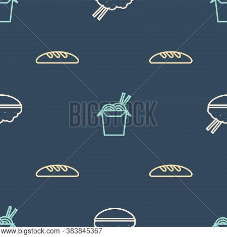 Set Line Rice In A Bowl With Chopstick, Bread Loaf And Asian Noodles And Chopsticks On Seamless Patt
