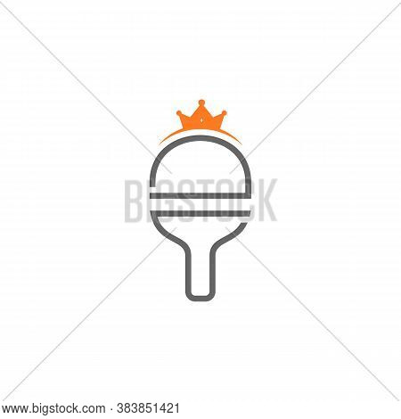 King Table Tennis Logo Design Concepts. Sport Labels Vector Illustration For Ping Pong Club