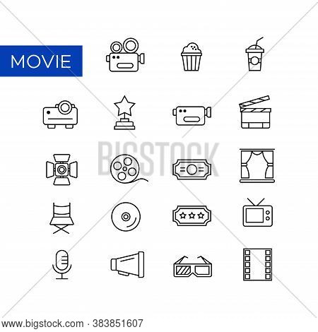 A Collection Of Line Icons From Showbiz And Filmmaking. Suitable For Design Elements From Cinema, Vi