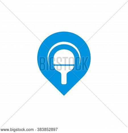 Table Tennis With Point Logo Design Concepts. Sport Labels Vector Illustration For Ping Pong Club