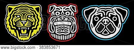 Set Of Retro Animal Faces. Vintage Tiger, Pug, Bulldog Design. Retro Logo.