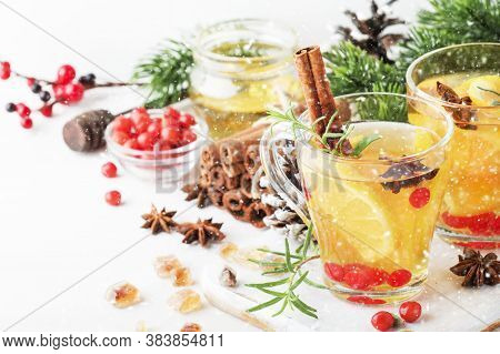 Winter Hot Tea With Lemon, Cranberries, Herbs And Spices For Christmas Or New Year Evening, White Ba