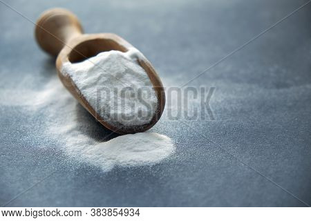 Glass Bowl Of Baking Soda. Spoonful Of Bicarbonate. Baking Soda, Sodium Bicarbonate, Nahco3