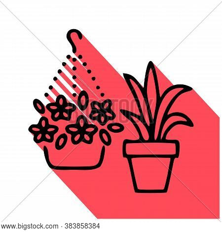House Flowers In Flower Pots Flat Line Icon. Plants Growing In Flowerpot Sign. Thin Linear Logo For