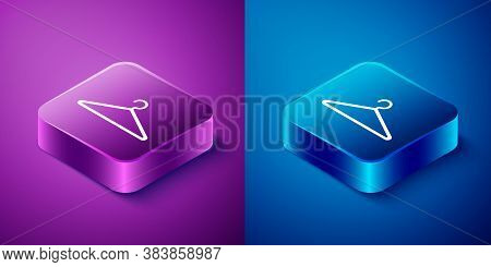 Isometric Hanger Wardrobe Icon Isolated On Blue And Purple Background. Cloakroom Icon. Clothes Servi