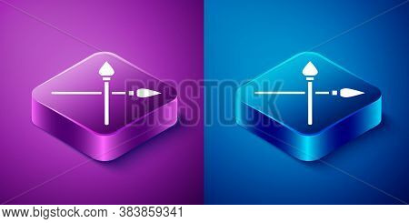 Isometric Crossed Medieval Spears Icon Isolated On Blue And Purple Background. Medieval Weapon. Squa
