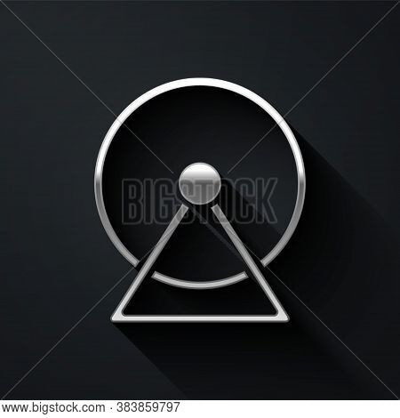 Silver Hamster Wheel Icon Isolated On Black Background. Wheel For Rodents. Pet Shop. Long Shadow Sty
