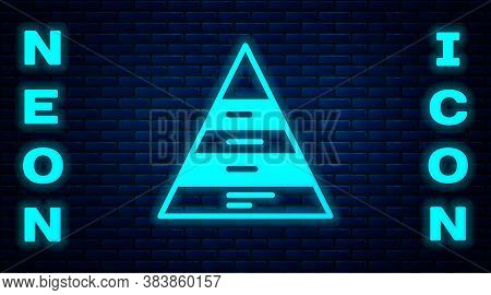 Glowing Neon Business Pyramid Chart Infographics Icon Isolated On Brick Wall Background. Pyramidal S