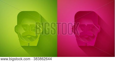 Paper Cut Portrait Of Joseph Stalin Icon Isolated On Green And Pink Background. Paper Art Style. Vec