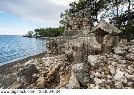Ruins Of Phaselis, Ancient Greek And Roman City On The Coast Of Ancient Lycia. Its Ruins Are Located