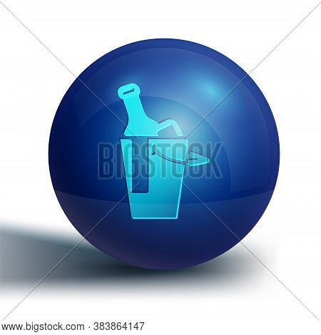 Blue Bottle Of Wine In An Ice Bucket Icon Isolated On White Background. Blue Circle Button. Vector