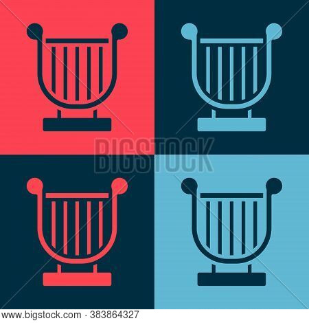 Pop Art Ancient Greek Lyre Icon Isolated On Color Background. Classical Music Instrument, Orhestra S