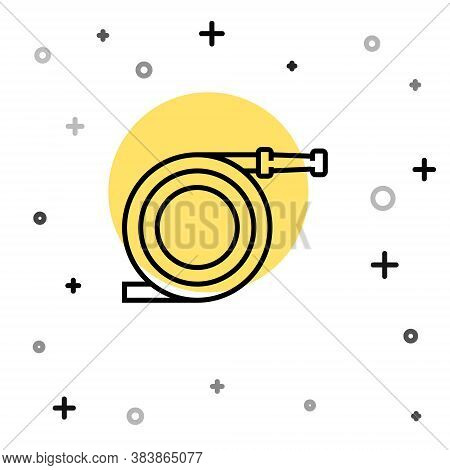 Black Line Garden Hose Or Fire Hose Icon Isolated On White Background. Spray Gun Icon. Watering Equi