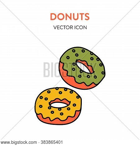 Donuts Icon. Vector Colorful Illustration Of Two Round With Icing And Sprinkling. Donut Vector Icon