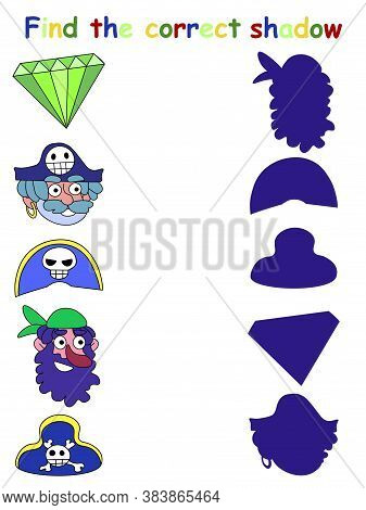 Find The Correct Shadow Children Vector Game. Funny Shadow Matching Game With Pirates, Hats And Gree