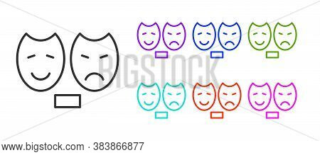 Black Line Comedy And Tragedy Theatrical Masks Icon Isolated On White Background. Set Icons Colorful