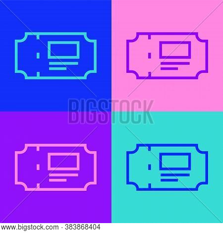 Pop Art Line Museum Ticket Icon Isolated On Color Background. History Museum Ticket Coupon Event Adm