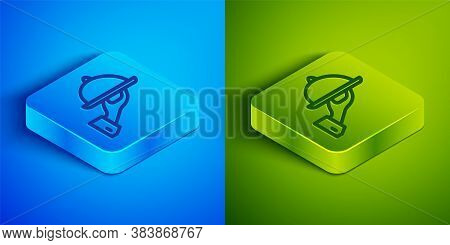 Isometric Line Covered With A Tray Of Food Icon Isolated On Blue And Green Background. Tray And Lid