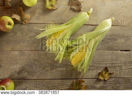 Grains Of Ripe Corn. Macro. Corn On The Cob, The Food Is Ripe, Juicy, Delicious Corn. Photo Of Corn