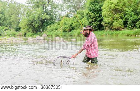 Get The Net Fishing. Fisherman With Fishing Rod. Summer Weekend. Big Game Fishing. Mature Man Fly Fi