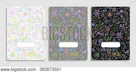 Covers For Planners And Laptops. School Elements Doodle Clip Art In Cartoon Style For Notebook. Cove