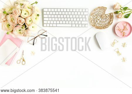 Stylized Womens Home Office Desk. Workspace With Computer, Bouquet Ranunculus And Roses, Clipboard O