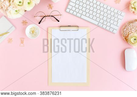 Stylized, Pink Womens Home Office Desk. Workspace With Computer, Bouquet Ranunculus And Roses, Clipb