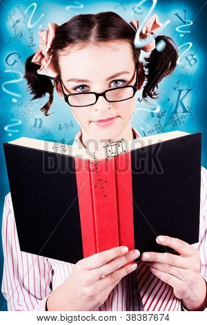 Bright Cute Girl Studying Education Textbook