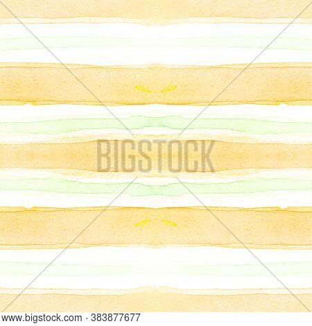 Bright Stripes Ornament. Fashion Brushstroke Illustration. Summer Horizontal Texture. Watercolor Str