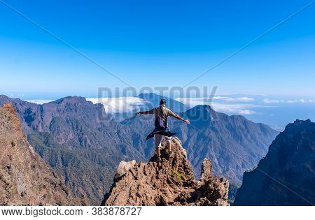 A Young Man After Finishing The Trek At The Top Of The Volcano Of Caldera De Taburiente Near Roque D