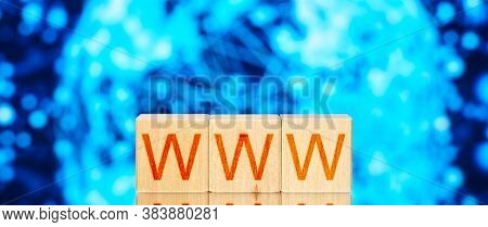 Www. Wooden Blocks With The Inscription Www On A Blue Background