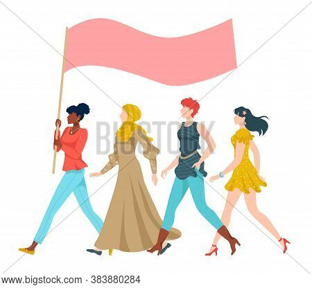 Peace Rally, People And Protest, Activist Poster, Protest Group, Design Cartoon Style Vector Illustr