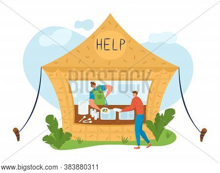 People, Volunteers, Inscription Help, Charity Concept, Man Gives Food To Homeless, Cartoon Vector Il