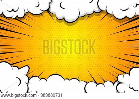 Comic Book Cartoon Speech Bubble For Text. Cartoon Puff Cloud Yellow Background For Text Template. P