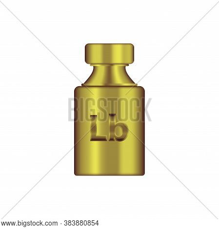Lb Weight Mass Golden Metal Realistic Vector. Old Press Lbs In Realistic Design. Golden Chrome Plumm