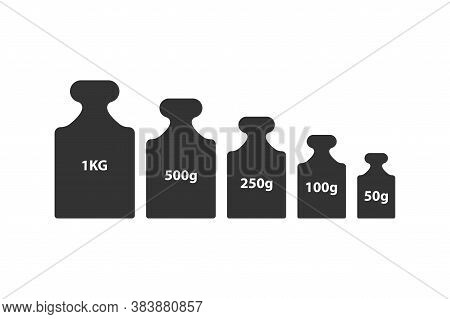 Kg Weight Mass Black Simple Flat Icon Set. Old Barbell Press Collection In Flat Design. Black Silhou