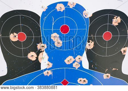 Shooting Target With Many Bullet Holes - Sport - Daylight - Gun Practice