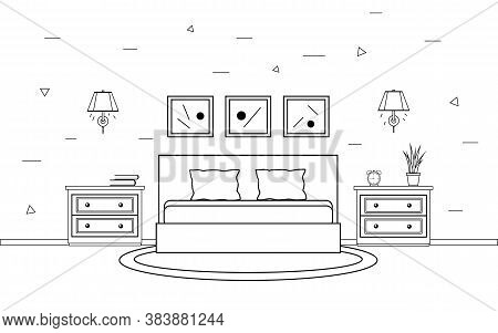 Bedroom Interior In Line Art Style. Modern Bedroom Interior With Furniture. Vector Illustration, Iso