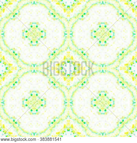 Seamless Aquarelle Pattern. Aquarelle Tie Dye Abstract Floor. Yellow, Green And White. Handmade Arti