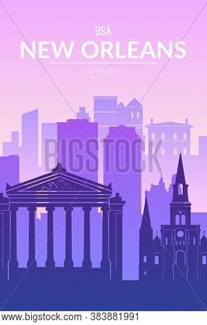New Orleans Famous City Scape View Background.