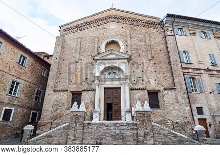 Facade Of San Domenico Church In Urbino, Italy. The Historic Center Of Urbino Is A Unesco World Heri