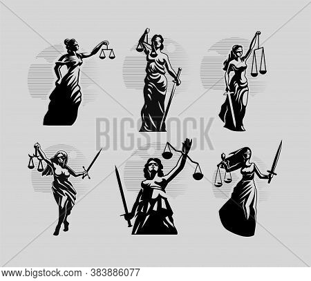 Collection Of Goddess Of Justice Themis. A Woman In A Tunic Blindfolded With A Sword In One Hand And