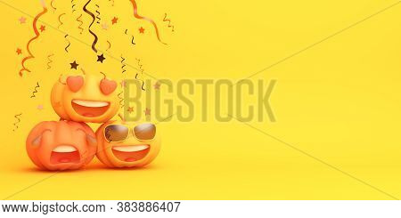Happy Halloween Background With Cute Cartoon Pumpkin, Halloween Pumpkin Copy Space, Halloween Banner