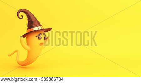 Happy Halloween Background With Cute Cartoon Ghost. Halloween Ghost, Copy Space Text, 3d Rendering I
