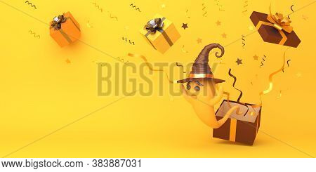 Happy Halloween Background With Cute Cartoon Ghost Wearing Witch Hat And Gift Box On Orange Backgrou