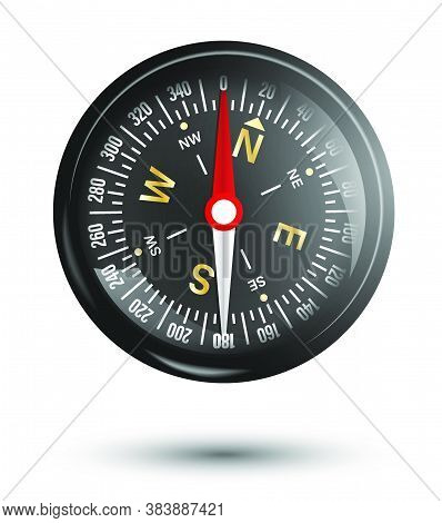 Magnetic Compass With Arrow And Scale. Compass Dial. Travel, A Device For Determining The Location A