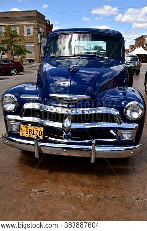 Park Rapids,  Minnesota, July 29, 2020: The 1954 Pickup Grill And Front Is A Chevrolet, Colloquially