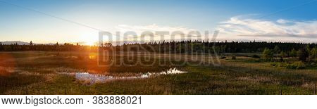 Panoramic View Of A Beautiful Canadian Landscape During A Sunny Summer Sunset. Taken Near Clinton, B