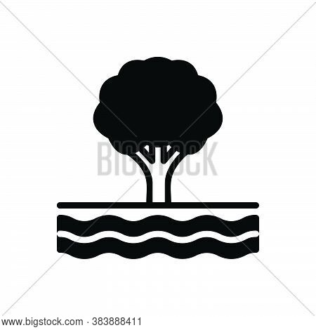 Black Solid Icon For Edge Tree Wave Flow Stream Current Clause Torrent