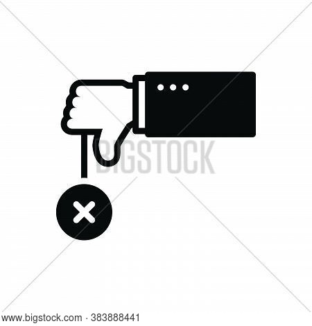 Black Solid Icon For Negative No Refusal Rejection Thumbs-down  Unassertive Dislike Unlike Cancel